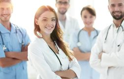 Attractive Female Doctor With Medical Stethoscope In Front Of Me Royalty Free Stock Photography