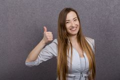 Attractive female doctor woman show thumbs up Stock Photography