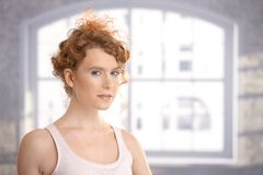 Attractive female dressed for workout Stock Photography