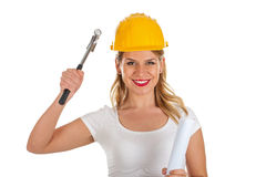 Attractive female engineer holding a hammer. Picture of an attractive female engineer holding a hammer Stock Images
