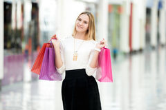Attractive female enjoying shopping Royalty Free Stock Image