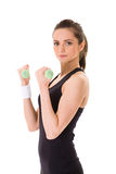 Attractive Female Exercise Using Half Kilo Weights Stock Photos
