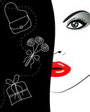 Attractive female face. And gifts. vector illustration Royalty Free Stock Photo