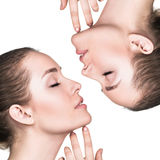Attractive female face with perfect skin Stock Images