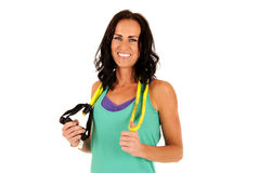 Attractive female fitness model smiling after workout Stock Photos