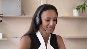 Attractive female has conversation give advice about some item. stock video footage