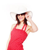 Attractive female with hat and sunglasses Royalty Free Stock Photos