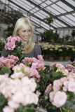 Female in a big greenhouse. Attractive female holding a flower looking alluring to the side stock photos