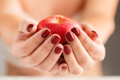 Attractive Female Holding Fruit Food Apple in Manicured Hands Royalty Free Stock Photo