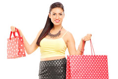 Attractive female holding shopping bags Stock Photos