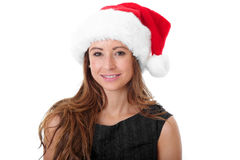 Attractive Female In Santa Hat, Isolated Royalty Free Stock Photo