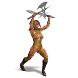 Attractive female knight act as a guard Stock Photo
