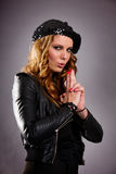 Attractive Female Making Gun Gesture with Hand Royalty Free Stock Photo
