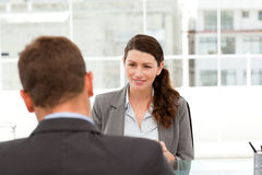 Attractive female manager during a interview Stock Photography