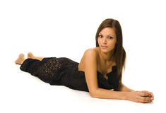 Attractive female model laying down Royalty Free Stock Photos