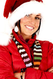 Attractive female model wearing a santa hat Royalty Free Stock Image