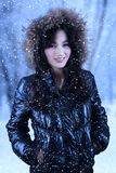 Attractive female model with winter clothes Royalty Free Stock Images