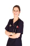 Attractive female nurse with stethoscope Stock Images