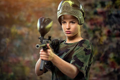 Attractive female paintball Royalty Free Stock Photography