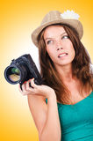 Attractive female photographer Royalty Free Stock Images