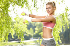 An attractive female runner stretching Royalty Free Stock Photo