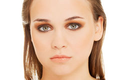 Attractive female's face. Close up. Royalty Free Stock Image