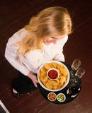 Attractive Female Server Brings Chips Salsa Stock Photography