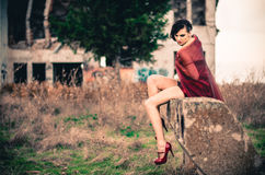 Attractive female in short red dress Stock Image