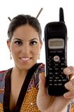Attractive female showing cell phone Stock Image