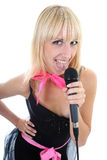 Attractive female singer showing tongue Royalty Free Stock Photos