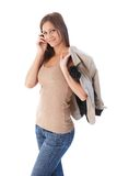 Attractive female smiling walking Royalty Free Stock Photos