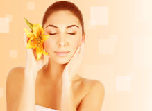 Attractive female in spa salon Royalty Free Stock Image