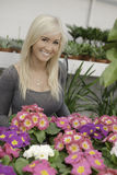 Woman in a big greenhouse. Attractive female standing behind colorful flowers smiling happily royalty free stock photos