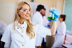Female student of chemistry working in laboratory Stock Photography