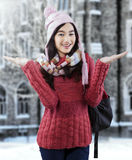 Attractive female student in warm clothes Stock Photography