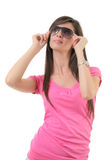 Attractive female with sunglasses Royalty Free Stock Image