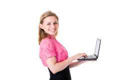 Attractive female it support worker, isolated Royalty Free Stock Images