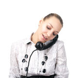 Attractive female talking phone Royalty Free Stock Images