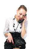 Attractive female talking phone Stock Photo
