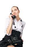 Attractive female talking phone Royalty Free Stock Photos