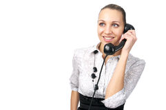 Attractive female talking phone Royalty Free Stock Photography