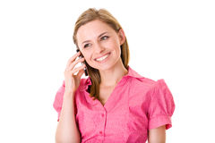 Attractive female talks over mobile phone,isolated Stock Photos