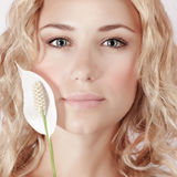 Attractive female with white calla Royalty Free Stock Images