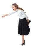 Attractive female in white shirt and black skirt Royalty Free Stock Photos