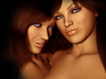 Attractive females. Photo-realistic 3d render of attractive females Stock Photo