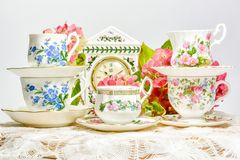Attractive fine bone china tea cups stock photos