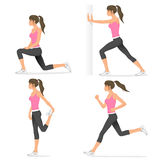 Attractive fit girl stretching before jogging Royalty Free Stock Images