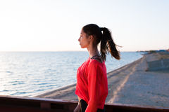 Attractive fit woman enjoying scenery while resting after active physical activity Royalty Free Stock Images