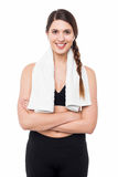 Attractive fit woman posing casually Royalty Free Stock Photography