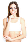 Attractive fitness girl on white background Royalty Free Stock Image